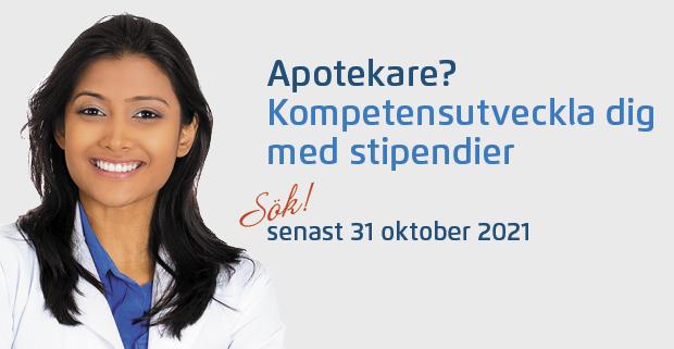 Bild på en kvinnlig apotekare med uppmaning till apotekare att söka stipendium
